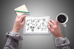 Business strategy concept on a tablet. Male hands using a tablet showing business strategy concept Stock Photo