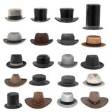 Male hats Royalty Free Stock Images