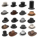 Male hats Stock Images