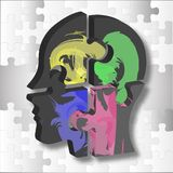 A male head build out of puzzle pieces royalty free illustration