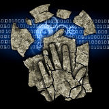 Male head digital dementia. Man holding his head.Photo-montage with Dry cracked earth and gear and binary codes symbolizing digital dementia Stock Images