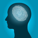 Male head with an enclosed fingerprint. Conceptual vector illustration of the silhouette of a male head with an enclosed glowing fingerprint or thumbprint Royalty Free Stock Images