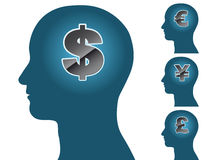 Male head silhouette thinking of money dollar euro Royalty Free Stock Photo