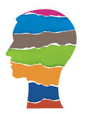 Male head Silhouette With Torn Paper. Stock Photography