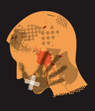 Male head silhouette Victim of violence. Young man grunge silhouette with hand print on the face and with taped mouth. Vector available Royalty Free Stock Images