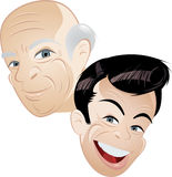 Male Heads Illustration Stock Images
