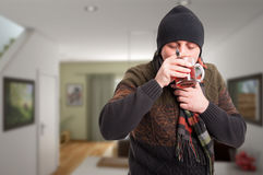 Male with health problem drinking tea Royalty Free Stock Photography