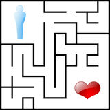 Male and heart labyrinth Stock Images
