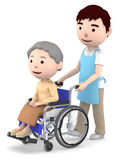 A male helper to help with an old lady sitting on a wheelchair,3D illustration. Old woman sitting on a blue seated wheelchair. 3D illustration Royalty Free Stock Photography