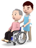A male helper to help with an old man sitting on a wheelchair ,3D illustration. Old man sitting on a blue seated wheelchair. 3D illustration Royalty Free Stock Images