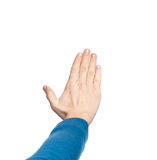 The male hi palm hand gesture, isolated on a white background Royalty Free Stock Photos