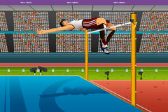 Male high jumper in midair over bar. A vector illustration of male high jumper in midair over bar for sport competition series Stock Image