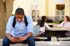 Male High School Student Using Phone On School Campus. With Female Pupils In Background Stock Photos