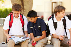 Male High School Students Hanging Out On School Campus Stock Image