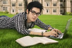 Male highschool student studying outdoor Stock Image