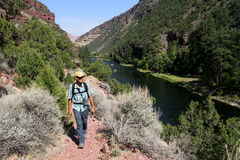 Male hiker. On a trail by Green River near Flaming Gorge Reservoir, Utah, USA Royalty Free Stock Photo