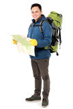 Male hiker with backpack and map Stock Photography