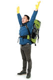 Male hiker with backpack raised his arm Stock Image