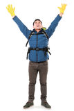 Male hiker with backpack raised his arm Stock Photography