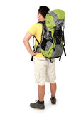 Male hiker with backpack shoot from behind. Full length portrait of male hiker with backpack. shoot from behind isolated on white background stock images