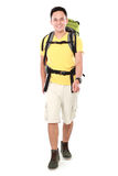 Male hiker with backpack walking Stock Photography