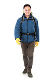 Male hiker with backpack walking Royalty Free Stock Images