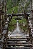 Male hiker crossing wooden fragile footbridge stock photography