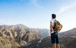 Male hiker enjoying the mountain view Stock Images