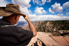 Male hiker at the Grand Canyon Stock Photography