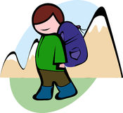 Male hiker in the green jacket with a big backpack goes to the mountain, vector Stock Image