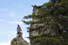 Male hiker on mountain top Royalty Free Stock Image