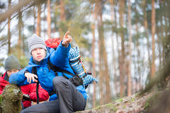 Male hiker pointing in forest Royalty Free Stock Photo