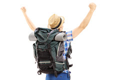 Male hiker with raised hands gesturing happiness Royalty Free Stock Photos