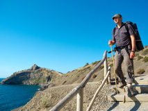 Male hiker trekking Stock Images