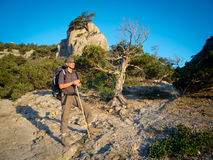 Male hiker trekking Royalty Free Stock Images
