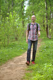 Male hiker walking Royalty Free Stock Photos