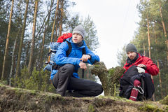 Male hikers in forest Stock Photos