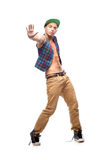 Male hip-hop dancer. Young caucasian male hip-hop dancer showing some moves Royalty Free Stock Images