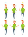 Male hipster characters set with facial emotions Royalty Free Stock Photo