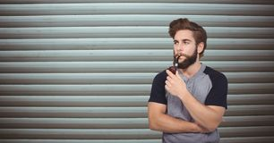 Male hipster smoking pipe. Digital composite of Male hipster smoking pipe Stock Image