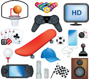 Male hobbies. Male sports and hobbies icon collection set Stock Images