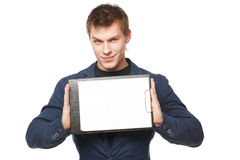 Male holding blank banner - clipboard Stock Image