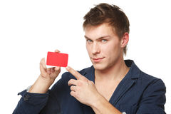 Male holding blank credit card Royalty Free Stock Image