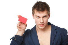 Male holding blank credit card Royalty Free Stock Photos