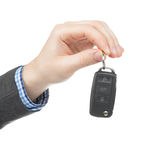 Male holding car keys with remote control system Stock Image