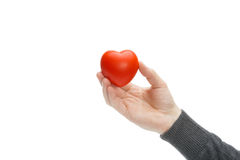 Male holding heart shaped toy in hand - studio shot Royalty Free Stock Photo