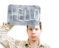 Male Holding Hello Sign Royalty Free Stock Photography