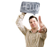 Male Holding Hello Sign Stock Images