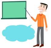 A male holding pointer towards blackboard Stock Photos