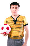 Male holding a soccer ball. Stock Photo